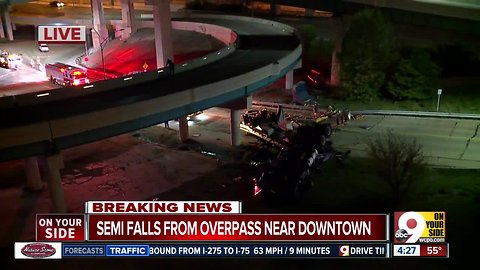 FD: Semi falls from I-471 overpass onto Columbia Parkway