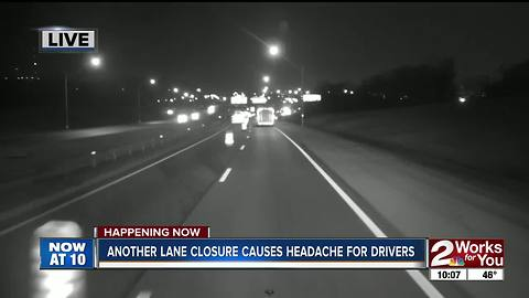 Another lane closure causes headache for drivers