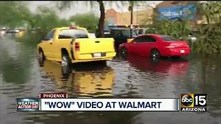 Central Phoenix Walmart flooded during monsoon storm - Video