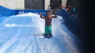 A Man Gets Wiped Out In A Wave Pool