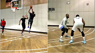 Kevin Durant & Carmelo Anthony Team Up AGAINST LeBron James for Pickup Basketball Game - Video