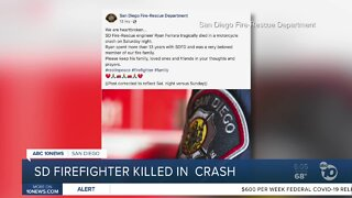 San Diego firefighter killed in motorcycle crash
