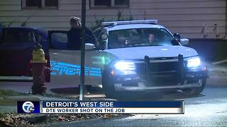 DTE worker shot while on the job - Video