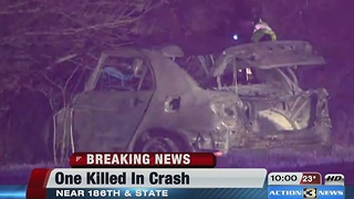 DCSO: One person killed in vehicle crash, fire near 186th, State St. - Video