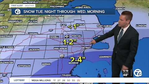 Metro Detroit Forecast: Falling temps later today with rain and snow on the way