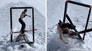 Professional Skier Crashes Into Frame While Attempting Trick Shot