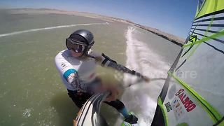Female windsurfer breaks world speed record for second time - Video
