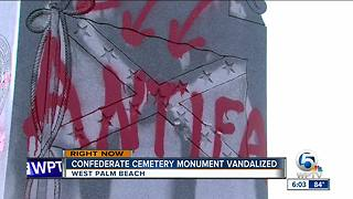 Confederate cemetery monument vandalized in West Palm Beach - Video