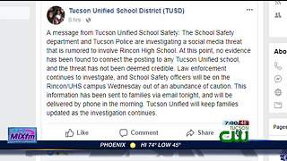 Police investigate school social media threat
