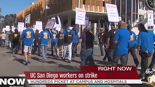 UC San Diego workers on strike - Video