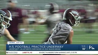 High School football practice underway