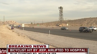 Bicyclist airlifted to the hospital after being hit by Jeep - Video