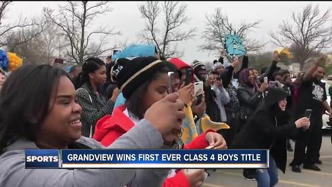 Fans turnout to welcome home the class 4 boy's champs