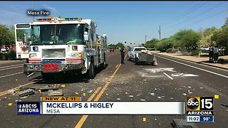 Mesa fire truck involved in chain-reaction crash - Video
