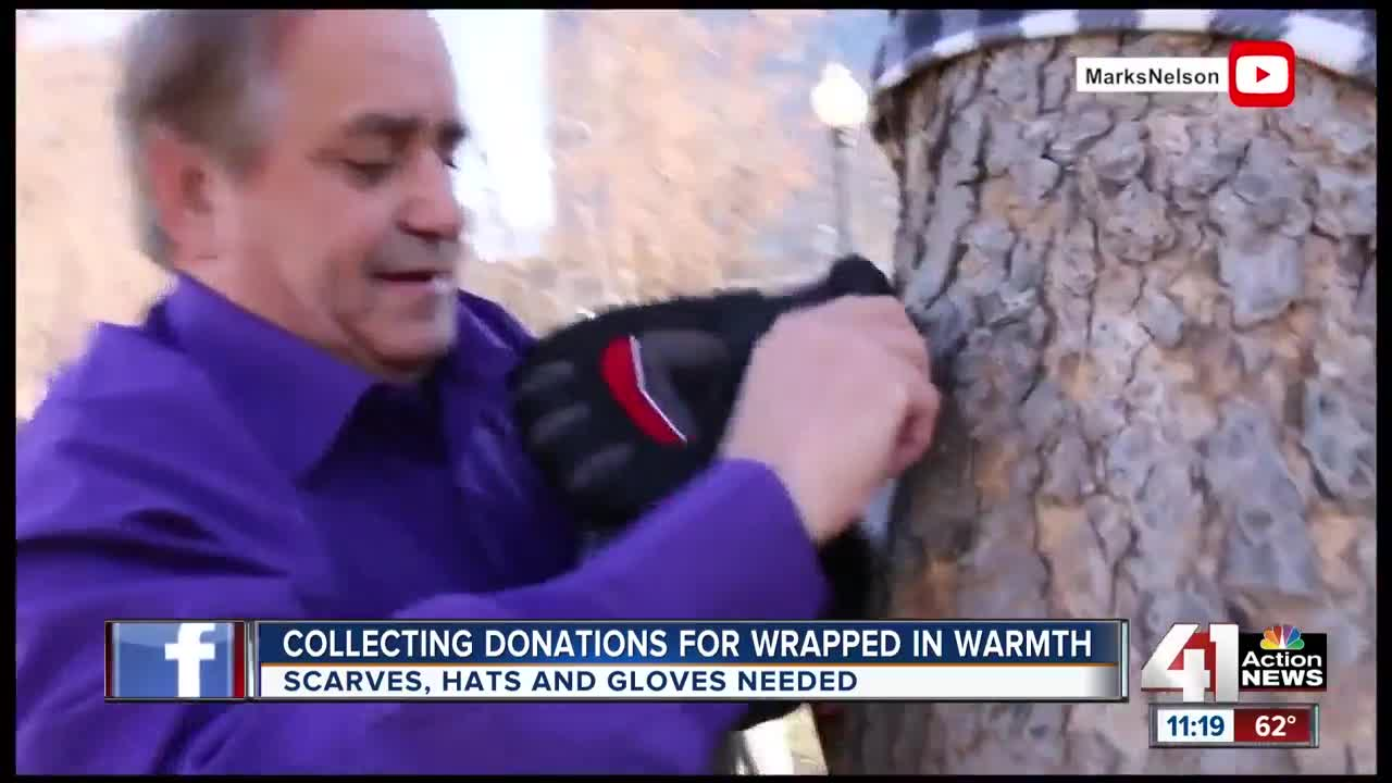 Collecting donations for wrapped in warmth