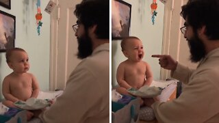 Baby adorably sings 'Old MacDonald' with her dad