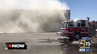 Phoenix crews battle debris fire - Video