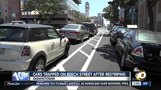 Cars trapped on Beech Street after restriping