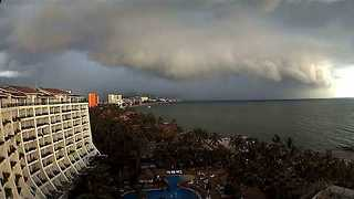 West Coast of Mexico Sees Cloud Cover as Hurricane Franklin Moves Ashore - Video