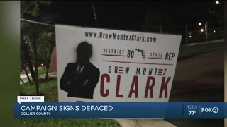 Campaign signs of two black candidates defaced