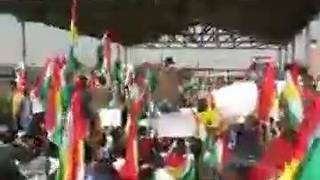Kurds at UN Compound in Erbil Protest Iraqi Show of Force in Kirkuk - Video