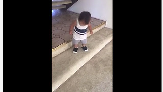 Fearless baby learns to conquer the stairs - Video
