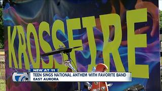 Teen sings national anthem with favorite band - Video
