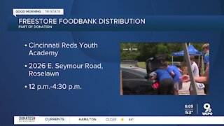 Drive-thru style food distribution happening today