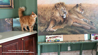 Great Dane Watches Cat Inspect Lion And Lioness Painting