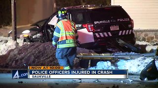 Crash sends two Saukville Police Officers to hospital