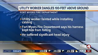 Utility worker dangles 100 feet above ground in Fort Myers