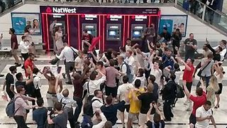 'It's Coming Home' - England Fans Go Wild in London Train Station After Colombia Win