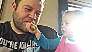 Kind Daughter Shares Delicious Pickle With Her Dad - Video