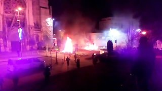 Protesters Set Fires, Clash With Police In Caen - Video