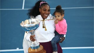 Serena Williams On Tennis Court With Daughter