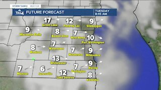 Wind picks back up Tuesday afternoon to 20 mph