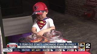 5-year-old starts lemonade stand to raise money for those impacted by Harvey - Video