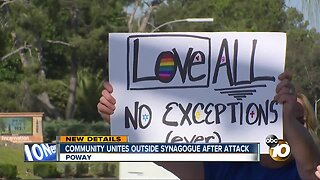 Community unities outside synagogue after attack