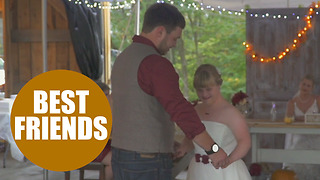 Big-hearted groom shares vows and a first dance with his bride AND her disabled little sister - Video