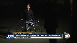 Man confronts thief and returns stolen bike - Video