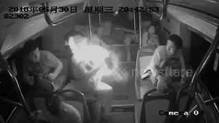 Bus passenger's portable charger explodes - Video
