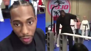 Kawhi Leonard Chops Wooden Boards in Karate Class...WTF LOL - Video