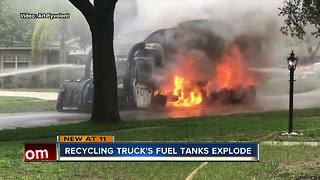 Natural gas recycling truck explodes in Tampa neighborhood - Video