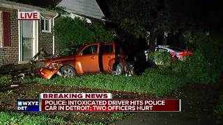 Police: Intoxicated driver hits police cruiser in Detroit - Video