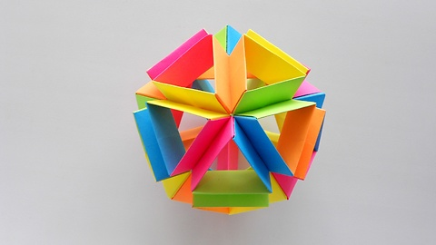 He Folds Paper Squares To Make An Impressive Origami Icosahedron