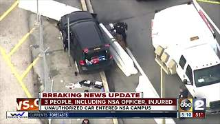 Car crashes outside NSA headquarters, suspects in custody - Video