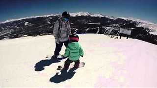Mom Goes Snowboarding on the Slopes With 3-Year-Old - Video