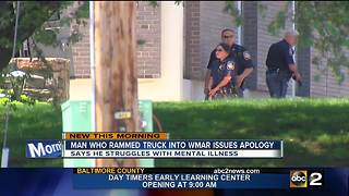 Man who rammed truck into WMAR issues apology