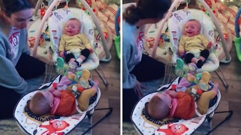 "Guilty baby can't stop laughing when mom asks ""hilarious"" question"
