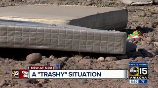 Trash being dumped along roads in Laveen - Video